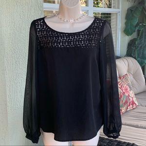 Candies black sheer sleeved blouse